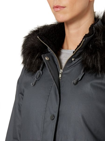 Gray & Willow Waxed Look Parka With Faux Fur Trim