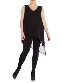 Plus size hi low asymmetric layered top