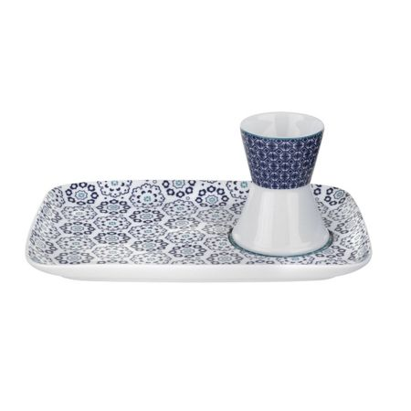 Ted Baker Portmeirion Egg Cup & Snack Plate Blanchard Blue