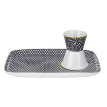 Ted Baker Portmeirion Egg Cup & Snack Plate Blanchard Black