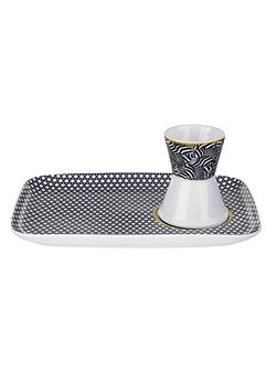 Portmeirion Egg Cup & Snack Plate Blanchard Black