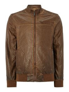 Casual Leather Look Biker Jacket