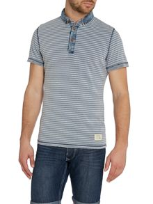 Stripe Grandad Collar Regular Fit Polo Shirt