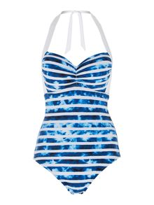 Seafolly Inked stripe soft cup halter maillot