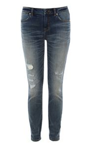 Ripped and frayed jean