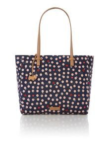 Heart spot dog navy large tote bag