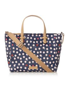 Heart spot dog navy medium tote bag