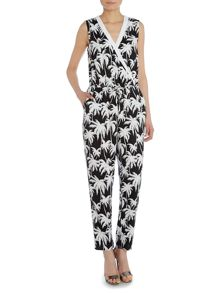 Sleeveless palm print jumpsuit