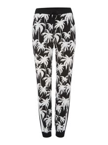 Slim leg relaxed palm print trousers