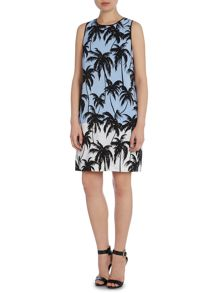 Vince Camuto Sleeveless palm contrast dress