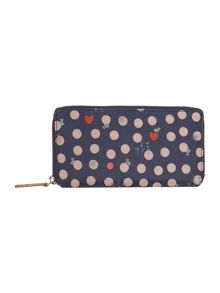 Heart spot dog navy large ziparound purse