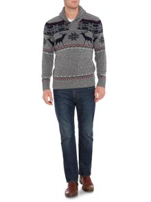 Stavanger Reindeer Shawl Neck Christmas Jumper