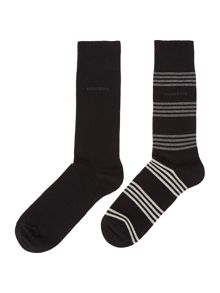 Hugo Boss 2 Pack Stripe And Plain Sock