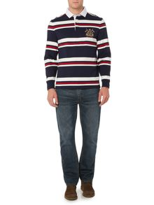 Stripe Rugby Neck Regular Fit Rugby Top