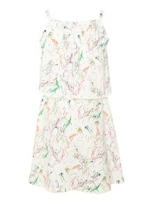 Girls white noise print dress