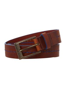 Central Groove And Seam Leather Belt