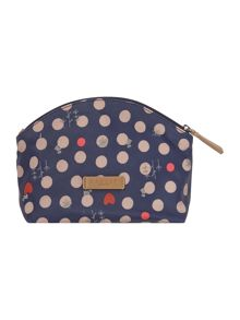 Heart spot dog navy small cosmetic case