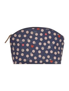 Heart spot dog navy medium cosmetic case