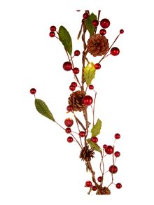 Red berry & pine cone lit garland
