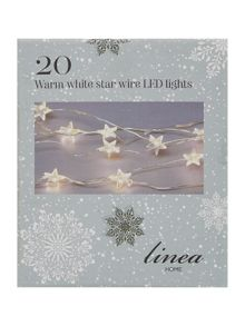 20 battery operated warm white star wire LEDs