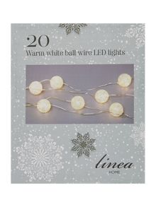20 battery operated warm white ball wire LEDs
