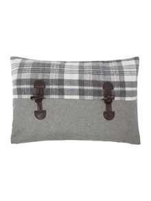Herringbone & tartan toggle cushion