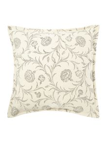 Floral textured print cushion grey