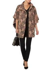 Leopard wool mix cape