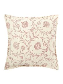 Floral textured print cushion red