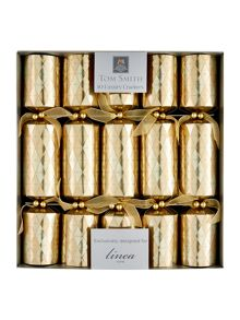 Set of 10 gold embossed diamond crackers