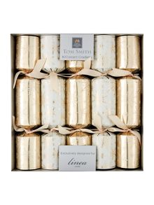 Set of 10 champagne and pearl snowflake crackers