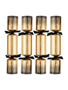 Set of 10 gold and black dotty crackers