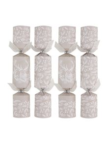 Set of 10 rustic stag and foliage crackers