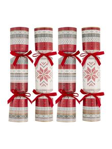 Set of 10 knitted fairisle crackers