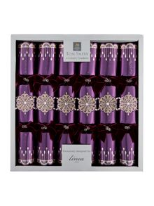 Set of 6 deluxe purple cut out snowflake crackers