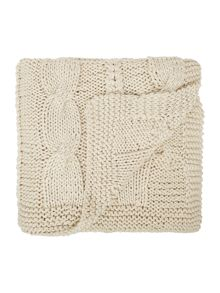 Linea Highland cable knit cream throw