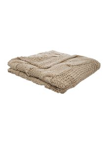 Highland cable knit taupe throw