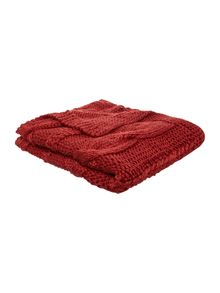 Highland cable knit red throw