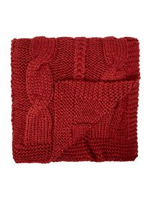 Linea Highland cable knit red throw