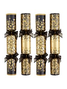 Set of 6 gold and black animal print crackers