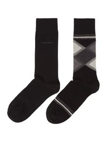 2 Pack Print And Plain Sock