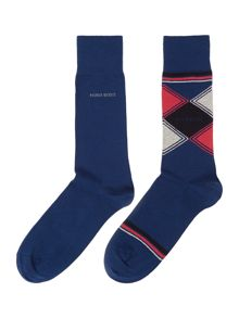 Hugo Boss 2 Pack Print And Plain Sock