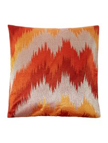 Embroidered chevron cushion, rust & gold