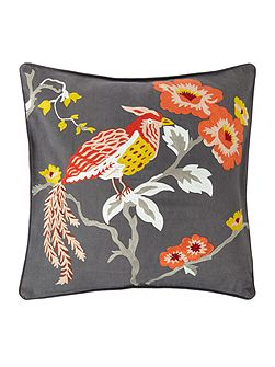 Bird crewel design cushion