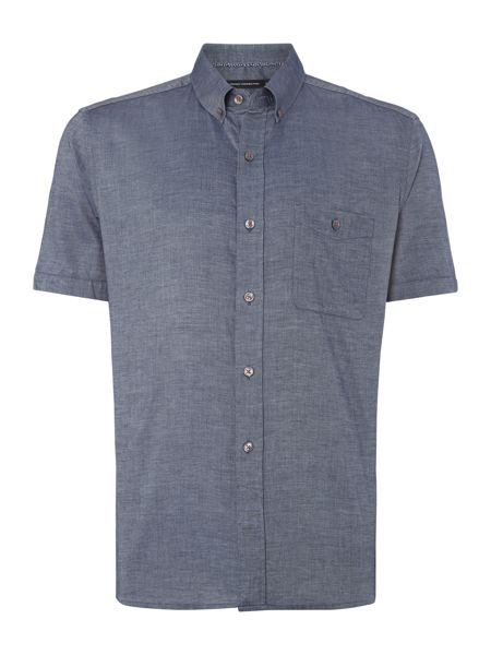French Connection Basoga Micro Diamond Slim Fit Short Sleeve Shirt