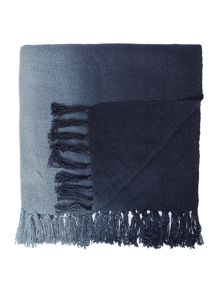 Ombre knit throw, indigo