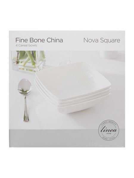 Linea Nova fine bone china square bowl set of 4