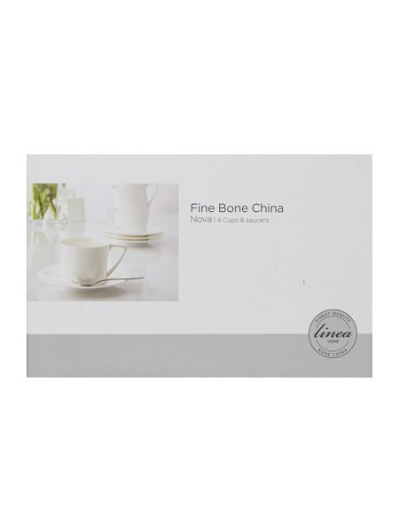 Linea Nova fine bone china cup & saucer set of 4