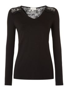 Linea Lace insert l/s jersey top