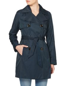 Double breasted belted trench
